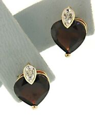 Garnet Stud Earrings with Diamond Accent New listing