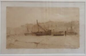 Grey morning (Whitby) - SIR FRANK SHORT original etching and drypoint