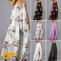 Women Summer Sleeveless Maxi Sundress Club Cocktail Party Plus Size Floral Dress