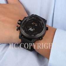 Men Black Waterproof Sports Multifunctional Big Dial Silicone Band Wrist Watches