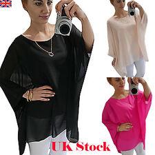 Ladies Long Sleeve Casul Loose Batwing Top Women Plain Tunic Top Plus Size 10-24