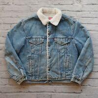 Vintage Levis Denim Sherpa Trucker Jean Jacket Size 40R Made in USA