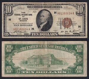 United States 10 Dollars 1929 St.Louis Missouri BB / VF A-01