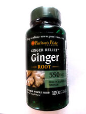 Ginger Relief Root 550Mg 100 Pills Capsules Natural Whole Herb