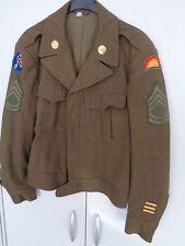 US WWII uniforme chaqueta m-1944 infantería top con insignia original cosidos SFC!