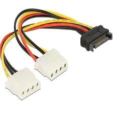 DELOCK 65159 2 Molex Buchse S-ATA 15 pin Strom power Adapter Kabel HDD SSD SATA