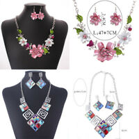 Fashion Pink Enamel Crystal Flower Pendant Statement Bib Collar Choker Necklace