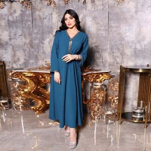 Shiny Rhinestones Elegant Party Maxi Dress Fashion Muslim Women Blue Robe Kaftan