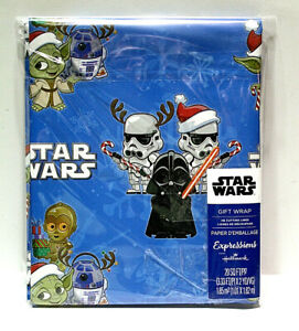 Disney Star Wars Animated Blue Christmas Wrapping Paper 20 Sq Ft Grid Back