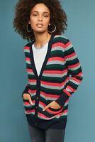 Moth Anthropologie Womens Jamison Striped Cardigan Sweater Size M Blue Red Green