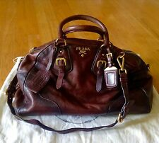 PRADA Cervo Antik Jumbo Cacao Gradient Accent Satchel Crossbody Shoulder Bag