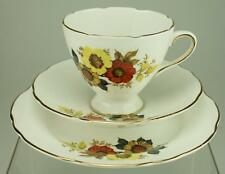 Royal Stafford Bone China Trio Cup, Saucer, Plate in Floral Autumn Colours VA31