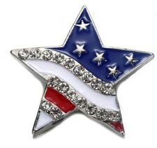 Large Silver Red Blue White USA Flag Star 20mm Snap Charm For Ginger Snaps