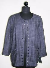 NYCC NEW YORK CLOTHING CO. DARK BLUE DENIM LOOK COLLAR LESS JACKET 22/24 NWT