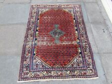 Shabby Chic Worn Vintage Hand Made Traditional Red Wool Small Rug 146x108cm