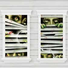 HALLOWEEN ZOMBIE HORROR EYES WINDOW MAGIC DECORATIONS PACK 2 SILHOUETTES POSTERS