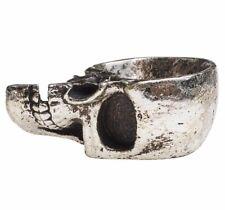 Half Skull Antiqued Silver Resin Trinket Dish Jewelry Bowl Alchemy Gothic V60