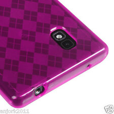 LG Optimus G E970 AT&T Candy Skin Cover Soft Case Accessory Hot Pink Checker
