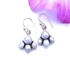 Edle Ohrringe Perlen Weiss Lila Echt Sterling Silber 925 Geschenk Neu
