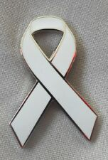 ***NEW*** Lung Cancer Awareness ribbon enamel white badge. Charity.