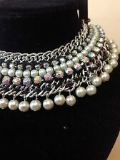 H&M WHITE PEARL SILVER CHAIN DIAMANTE NECKLACE 2013 COLLECTION Sold Out!!