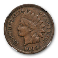 1908 S 1c Indian Head Cent NGC VF 30 BN Very Fine to Extra Fine Key Date Cert...