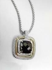 EXQUISITE Silver Wheat Cable Black Onyx 12.66ct CZ Crystal Pendant Necklace