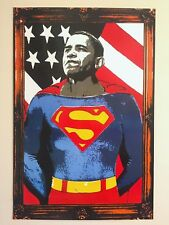 "MR. BRAINWASH "" OBAMA SUPERMAN "" RARE LIMITED RELEASE LITHOGRAPH PRINT POSTER"