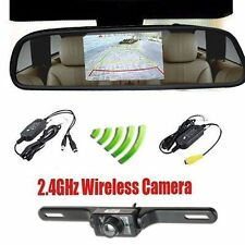 "4.3"" Car TFT LCD Monitor Mirror+Wireless Reverse Car Rear View Camera Kit US VIP"