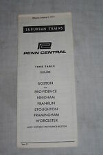 Vintage Penn Central Railroad Suburban Trains Timetable January 2, 1973
