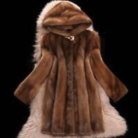 Womens faux Mink Fur Long Coat Hooded Overcoat Jacket Winter Warm Outwear SIBO