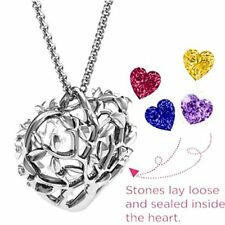 NEW Family Love Gift Tree Caged Pendant 2 Birthstone Heart Charm Locket Necklace
