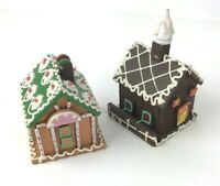 Vtg lot of two Wood Gingerbread Cookie House Cottage Wooden Hand decorated mini