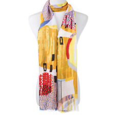 Ladies Fashion Long Scarf 1960's Vibe circles Abstract, Yellow Red Black soft