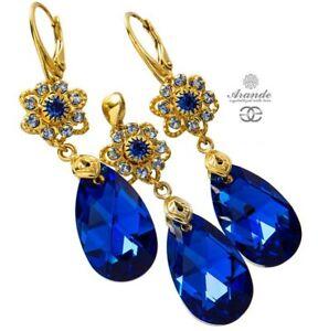 ORIGINAL CRYSTALS *BLUE FEEL GOLD* EARRINGS PENDANT 24K GP STERLING SILVER