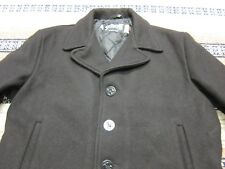 VTG Schott Melton Wool Quilted Lined Pea Coat Style Jacket Black 44 Made In USA