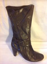 Next Brown Mid Calf Leather Boots Size 42