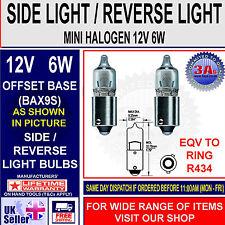 2 x R434 12V 6W Mini Miniature Halogen Car Bulb Side & Tail light Bulb BAX9s