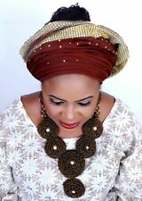 Chocolate & beige brown Elongated African Beads Bridal Wedding Party Jewelry Set