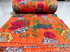 Indian Handmade Kantha Quilt Bedspread Cotton Throw Orange Tropicana Embroidery