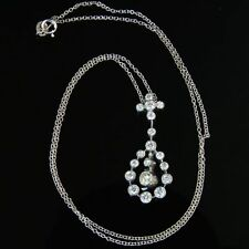 ANTIQUE DIAMOND 1.30CT DIAMOND PENDANT CHAIN 18CT WHITE GOLD