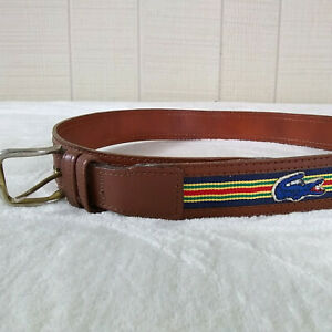 Vintage Lacoste Belt Alligator Logo Striped Faux Leather Preppy