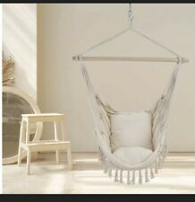 Hanging Rope Indoor Outdoor Hammock Chair Swing Seats with Cushion & Wooden Bar