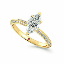 2.50 Ct Marquise Cut Solitaire Engagement Wedding Ring 14k Yellow Gold Finish