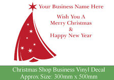 Personalised Christmas vinyl window decal, Business sticker company name