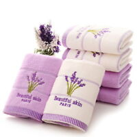 Embroidery lavender Aromatherapy Bath Hand Face Towel Sheet Washcloth gants