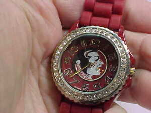 NICE USED FLORIDA SEMINOLE WATCH RED CASE AND BAND 38MM IN SIZE