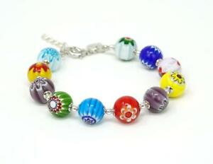 Murano Glass Millefiori Bead Bracelet - Authentic Handmade Jewelry