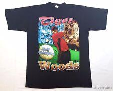 TIGER WOODS Vintage T Shirt 90's RAP HIP HOP STYLE G FUNK SPORTS GOLF MASTERS