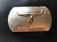 Sterling Silver 10 K Gold Western Cowboy Bull Head Ricardo Belt  Buckle